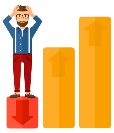 market bottom: Upset businessman clutching his head and standing in bottom of uprising chart vector flat design illustration isolated on white background.