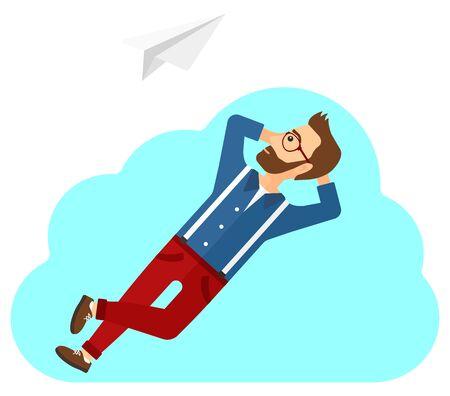 obrero caricatura: Un hombre tumbado en una nube y mirando a volar avi�n de papel ilustraci�n vectorial dise�o plano aislado en el fondo blanco.