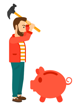 desperation: A businessman with a hammer breaking a piggy bank vector flat design illustration isolated on white background. Illustration