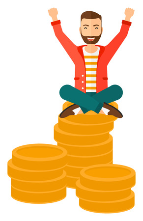 A businessman with a happy face and raised hands sitting on golden coins vector flat design illustration isolated on white background. Vettoriali