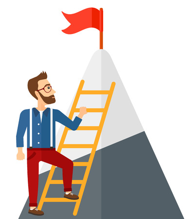 stair climber: A man standing and holding the ladder to get the red flag on the top of mountain vector flat design illustration isolated on white background. Illustration