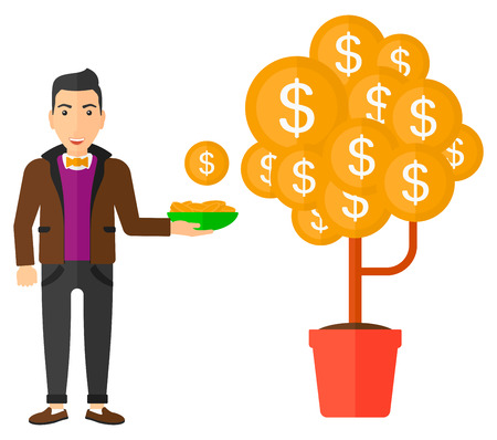 collect: A man standing and catching dollar coin from money tree vector flat design illustration isolated on white background. Illustration