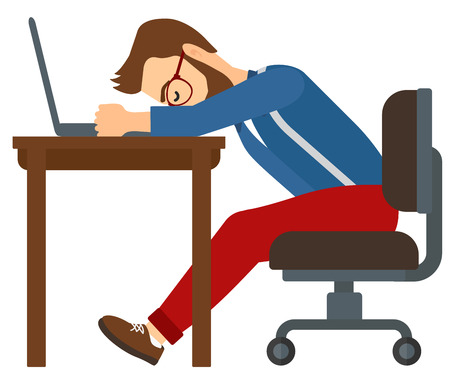 Tired employee sleeping at workplace on laptop keyboard vector flat design illustration isolated on white background.