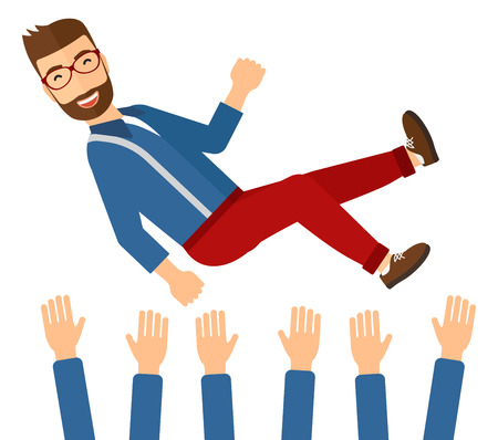 A businessman get thrown into the air by coworkers during celebration vector flat design illustration isolated on white background. Ilustrace