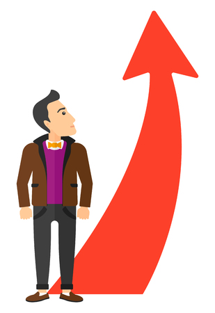 going up: A businessman looking at arrow going up vector flat design illustration isolated on white background. Illustration