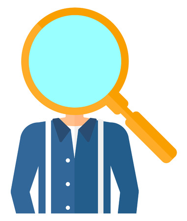 A businessman with magnifier instead of head vector flat design illustration isolated on white background.