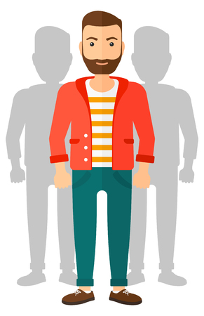 coworkers: A man with some shadows of his coworkers behind him vector flat design illustration isolated on white background.