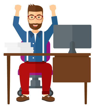 A man with raised hands working at workplace vector flat design illustration isolated on white background.