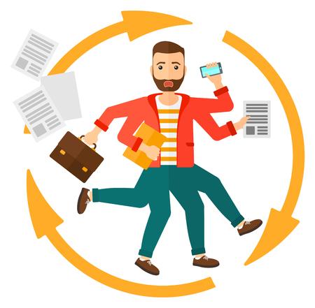 Un hombre con muchas manos que sostienen los papeles, maleta, dispositivos de vector diseño plano aislado en el fondo blanco.