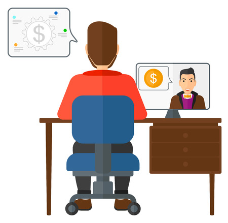 A man sitting in the office and talking with other man using video chat vector flat design illustration isolated on white background. 矢量图像
