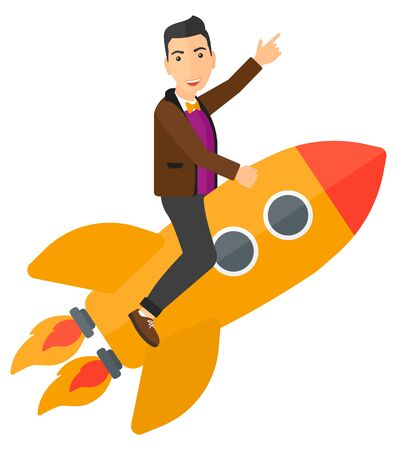 pointing up: A man flying on the rocket with a forefinger pointing up vector flat design illustration isolated on white background.