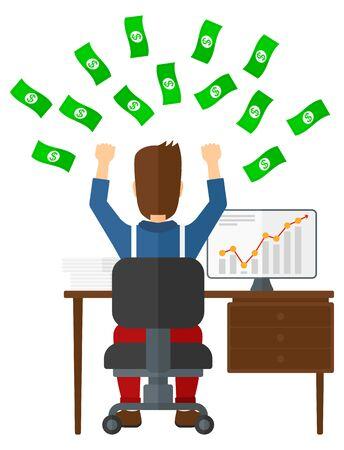 Un homme assis devant son ordinateur avec les mains surélevées et l'argent volant au-dessus de lui vector illustration design plat isolé sur fond blanc.
