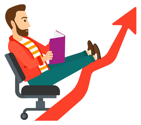lay: A businessman sitting in chair with a book in hands while his legs lay on an uprising arrow vector flat design illustration isolated on white background. Illustration