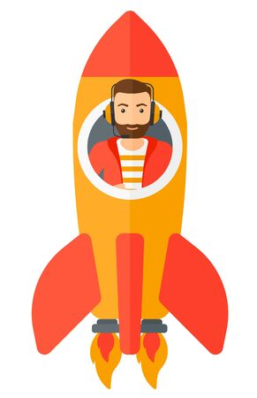 taking off: A man taking off in a rocket vector flat design illustration isolated on white background.