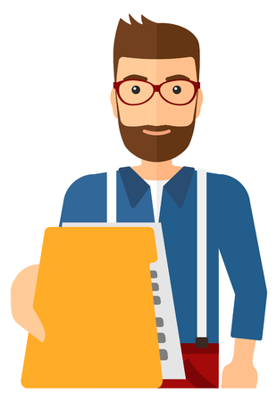 A boss receiving a file from his employee vector flat design illustration isolated on white background.