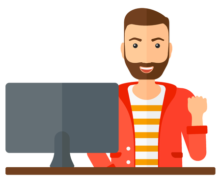 looking at computer: A happy businessman expressing great satisfaction while looking at computer monitor vector flat design illustration isolated on white background. Illustration