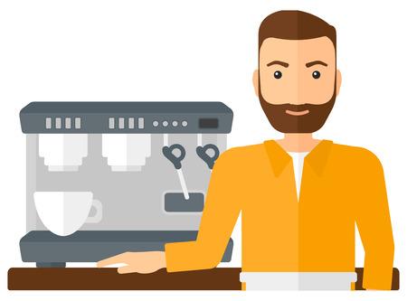 Un barista con la barba que se coloca cerca de cafetera ilustración vectorial diseño plano aislado en el fondo blanco.