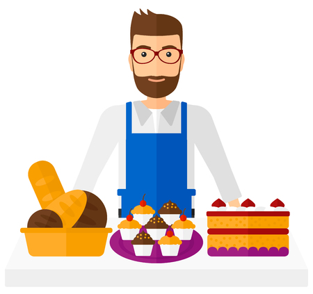 retailer: A successful small business owner standing in front of table with pastry vector flat design illustration isolated on white background. Illustration