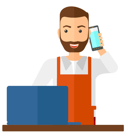 proprietor: A man taking an order by phone vector flat design illustration isolated on white background.