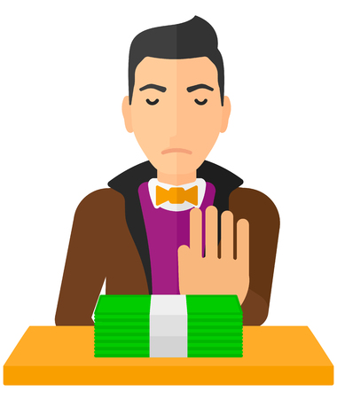 Man moving dollar bills away and refusing to take a bribe vector flat design illustration isolated on white background.