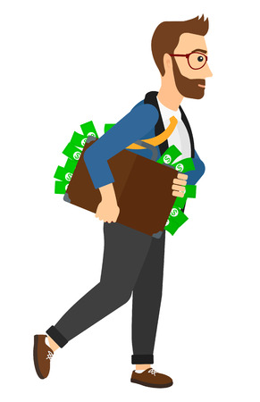 businessman walking: A businessman walking with suitcase full of money vector flat design illustration isolated on white background.