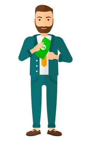 putting: A businessman putting money in his pocket vector flat design illustration isolated on white background.