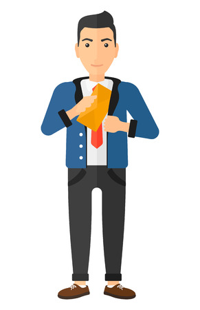 bribe: A businessman putting an envelope in his pocket vector flat design illustration isolated on white background.
