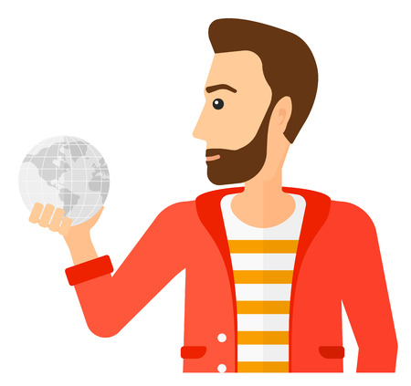 flat earth: A businessman holding Earth planet in hand vector flat design illustration isolated on white background.
