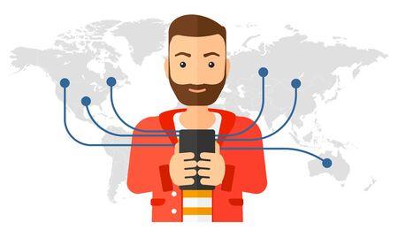 Un uomo che tiene smartphone collegato con l'intero design piatto mondo illustrazione vettoriale isolato su sfondo bianco.