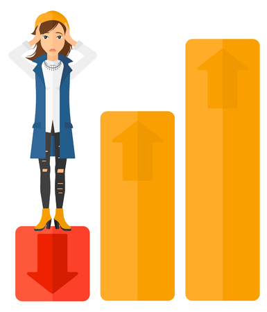 market bottom: Upset business woman clutching her head and standing in bottom of uprising chart vector flat design illustration isolated on white background. Illustration