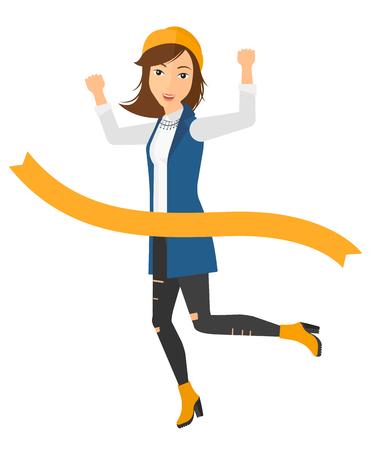finishing line: A happy business women running through finishing line vector flat design illustration isolated on white background. Illustration