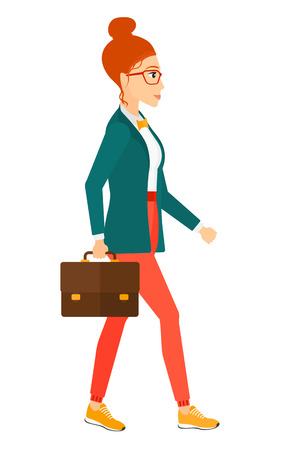 business woman: A business woman walking with a briefcase vector flat design illustration isolated on white background.