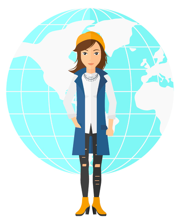 sphere standing: A successful business woman standing on earth globe background vector flat design illustration isolated on white background. Illustration