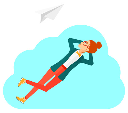 A woman lying on a cloud and looking at flying paper plane vector flat design illustration isolated on white background.