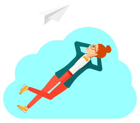 obrero caricatura: Una mujer tumbada en una nube y mirando a volar avi�n de papel ilustraci�n vectorial dise�o plano aislado en el fondo blanco.
