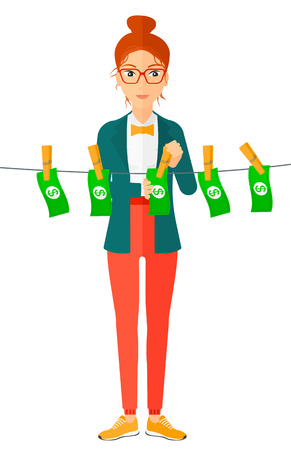 A business woman drying banknotes on clothesline vector flat design illustration isolated on white background.
