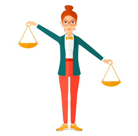 deciding: A business woman holding scales in hands vector flat design illustration isolated on white background.