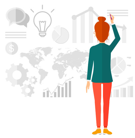 schemes: A woman turned back at the office and painting something on the wall with many charts on it vector flat design illustration isolated on white background.