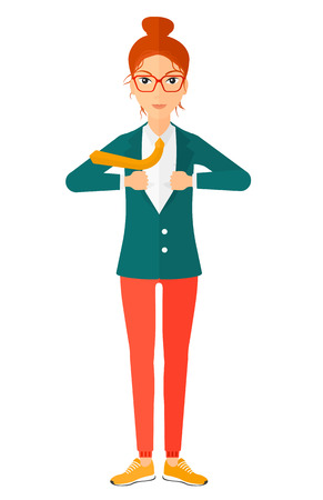 undress: A business woman standing and taking off her jacket vector flat design illustration isolated on white background. Illustration