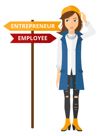 career choices: A confused woman with two career choices in front of her vector flat design illustration isolated on white background.