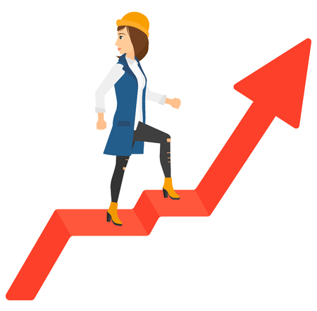 looking down: A woman standing on an uprising chart and looking down vector flat design illustration isolated on white background.