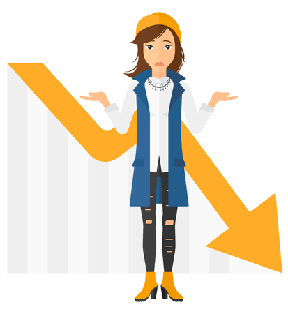 going down: A stressed woman with going down chart on a background vector flat design illustration isolated on white background.