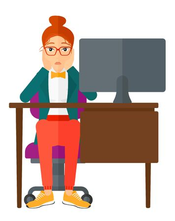 power failure: A tired employee sitting at the table in front of computer monitor in office and clutching her head vector flat design illustration isolated on white background.