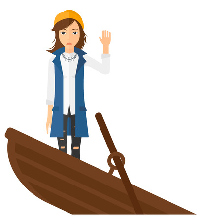 A scared business woman standing in a sinking boat asking for help vector flat design illustration isolated on white background.