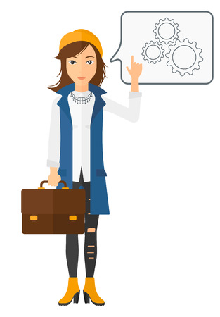 forefinger: A business woman pointing her forefinger at a bubble with some cogwheels inside vector flat design illustration isolated on white background.