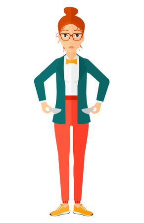 A confused business woman showing her epmty pockets vector flat design illustration isolated on white background. Illustration