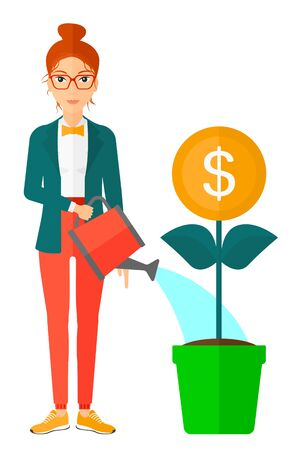 A woman taking care of finances watering a money flower vector flat design illustration isolated on white background.