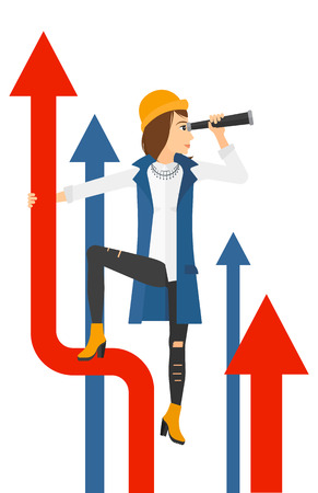 business woman standing: A business woman standing on the top of graph arrow and looking through spyglass vector flat design illustration isolated on white background.