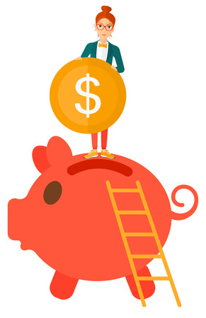 A happy woman saving her money by putting a coin in a big piggy bank vector flat design illustration isolated on white background.  イラスト・ベクター素材