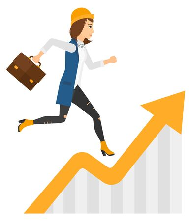 runner up: A business woman running along the growth graph vector flat design illustration isolated on white background.